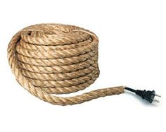 Hand Wrapped Electrical Rope Cord - Sold by the Foot   Electrical cord in manila rope for DIY pendant lights, swag lights, chandeliers or wall