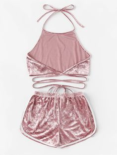 Halter Velvet Top With Elastic Waist Shorts Cute Lazy Outfits, Crop Top Outfits, Sporty Outfits, Summer Fashion Outfits, Girl Outfits, Mode Kimono, Cute Pajama Sets, Cute Sleepwear, Velvet Fashion