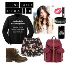 """""""Think Twice Before I Do"""" by indierock4life ❤ liked on Polyvore featuring Mode, Glamorous, Steve Madden, Herschel, Manic Panic und Casetify"""