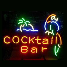 Find a high-quality neon sign make with real glass tubes. Cocktail bar parrot neon sign. multi-colored, backing  Metal Frame or ACP free shipping & 1-year warranty.
