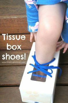 Teach children to tie their shoelace with this easy to make teaching tool. Using a recycled tissue box children will learn the art to tying their shoes. Motor Skills Activities, Kindergarten Activities, Preschool Activities, Teaching Kids, Kids Learning, Learn To Tie Shoes, Tie Shoelaces, Toddler Fun, Kids Boxing