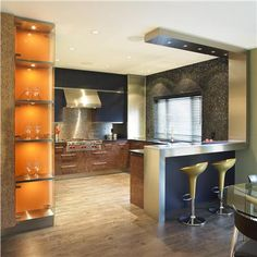 Cool stainless wrap-around  Contemporary Kitchen by Ines Hanl  http://www.homeportfolio.com/Designers/Room/29401