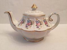 Ellgreave England Ironstone Pink Blue Floral Tea Pot Antique Teapot | eBay