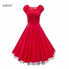 ZAFUL Summer Women Dress Audrey Hepburn Vintage short Sleeve1950 60s big Swing Print Party Retro Dress Feminino Vestidos