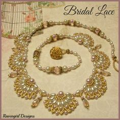 """Made by Ravengirl Designs """"BRIDAL LACE"""" Beaded Necklace Modified version of a Jaycee Pattern https://www.Facebook.com/RavengirlDesigns"""