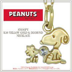 Snoopy Woodstock Diamond K10 Yellow Gold Necklace
