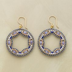 "MIDNIGHT LACE EARRINGS -- Blue quartz rondelles sparkle within lacy weavings of blue and gold Japanese glass seed beads. 14kt goldfill hoops and French wires. Handmade in USA by Miguel Ases. 2""L."