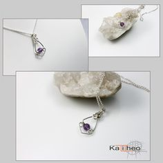 Amethyst Pendant / Sterling Silver Wire Wrapped Pendant / Minimalist Trends by https://www.facebook.com/KalitheoCreations KTC-177 AU $39.00 #minimalist #pendant #trends #amethyst
