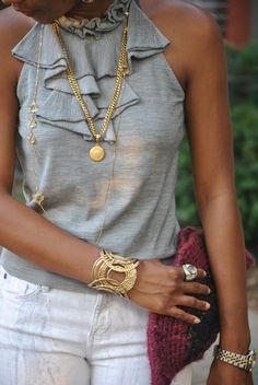 ruffled tee with gold accessories