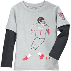 Texas Tech Red Raiders Under Armour Toddler Neon Player Long Sleeve Performance T-Shirt- Gray - $26.39