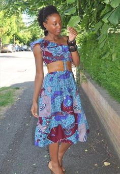 African Print one shoulder ruffle dress
