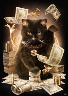"""cashcats: """" Fortune Cash Cat by Maxime Girault. a few limited edish men's and women's tees (and posters) were just listed at cashcats.biz/shop. part of our exhibition at Cat Town Cafe & Adoption..."""