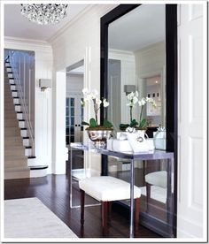 Love the clean modern look: Desire to Decorate: Holiday Decorating {The Entryway}