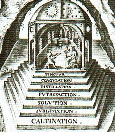 Stages in Alchemy - The Great Work an alchemical term for creating the philosopher's stone describing personal and spiritual transmutation in the Hermetic tradition, attached to laboratory processes and chemical color changes, a model for the individuation process, and device in art and literature. The magnum opus first had four stages: nigredo, a blackening or melanosis; albedo; a whitening or leucosis; citrinitas, a yellowing or xanthosis and rubedo, a reddening, purpling, or iosis