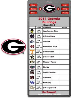 Get your 2017 Georgia Bulldogs Football Schedule Dashboard Widget - Go Dawgs! - National Champions 1980, 1942 Download yours at: http://2thumbzmac.com/teamPagesWidgets/Georgia_Bulldogs.htm