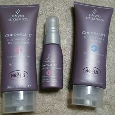 Nexxus chromalife colour lock trio These are good for travel size even though they're not.  Good size of 3 oz each on shampoo and conditioner plus 1 oz of treatment.   Please see pix for additional info  Nexxus is a professional line of company.  NEW, NEVER USED, 100% FULL  Shoot me any questions before buying please, I would really appreciate that. .. NEXXUS Accessories Hair Accessories