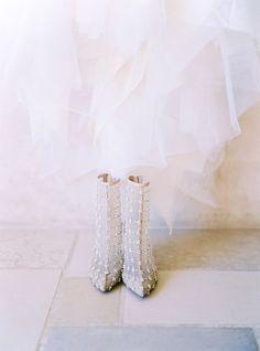 Bride's Shoes: Oscar De La Renta - www.oscardelarenta.com/ Photography: Brandon Aquino - http://www.stylemepretty.com/portfolio/brandon-aquino   Read More on SMP: http://www.stylemepretty.com/2015/06/22/romantic-santa-barbara-winery-estate-wedding/