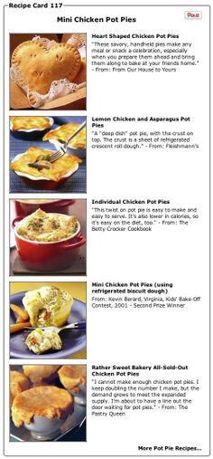 Recipe Collection: Mini Chicken Pot Pies and Pot Pie Recipes - Recipelink.com