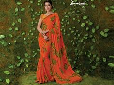 Get this awesome Orange Georgette Saree with Rawsilk Yellow & Orange Blouse along with Satin Printed Lace Border for your special occasion from Price - Rs. Laxmipati Sarees, Lehenga Saree, Georgette Sarees, Fancy Sarees, Party Wear Sarees, Saree Collection, Bridal Collection, Dubai Fashion, Women's Fashion