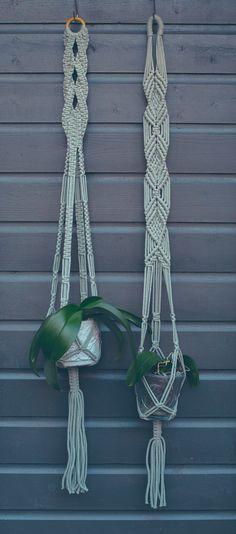 Handmade Macrame Plant Hangers Green / Plant Holder by MiniSwells
