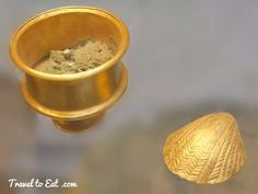 Electrum Vessel with Green Eye Powder and Gold Shell, Tomb of Queen Pu-ali. British Museum, London