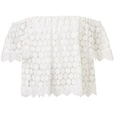OFF SHOULDER LACE TOP ($61) ❤ liked on Polyvore featuring tops, lace off the shoulder top, elastic top, lace top, lacy tops and white tops