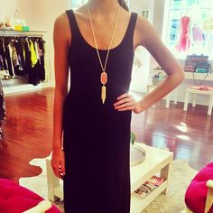 We love this simple black maxi dress by @Tart Collections paired with this sherbet tassel necklace by @Kendra Scott  #boutique #lbd #simple #chic #mine #dress #tart #kendrascott #love #style #springarrivals