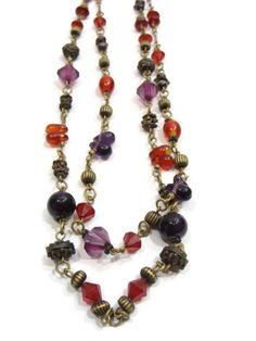 Vintage Multi Color Two Strand Beaded by VintageConnoisseur, $22.00