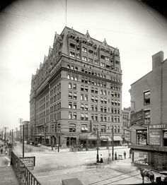 """Hotel Iroquois, Buffalo, 1900."" The ectoplasmic pedestrians are out in force. And what is tonalgia?"