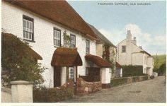 Thatched Cottage / Doone Cottage on the Strand off Ringmore Road, Shaldon. Original postcard circa 1950's.