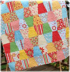 Made this in different fabrics. Easiest quilt ever. Tutorial is at Missouri Star Quilt Company.