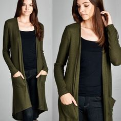 """New Wings"" Olive Maxi Cardigan Semi loose fit, long sleeves, open front long cardigan. Back hem is rounded. Side pockets. Medium weight, brushed two toned hacci ribbed fabric with a fuzzy texture. Drapes well and warm. Good amount of stretch. Only color available. Brand new. True to size. NO TRADES. 21% polyester, 76% rayon, 3% spandex. Bare Anthology Sweaters Cardigans"