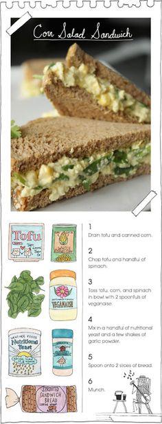 Corn salad sandwich