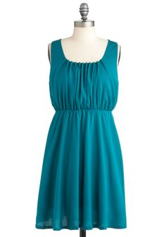 Wish of the Day Dress - Mid-length, Blue, Solid, Ruching, Party, A-line, Sleeveless