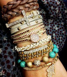 love love love! from Lucky You Lucky Me Layered Bracelets, Jewelry Bracelets, Gold Jewelry, Cross Bracelets, Bangles, Jewellery, Arm Party, Gypsy Style, Baby Shower Gifts
