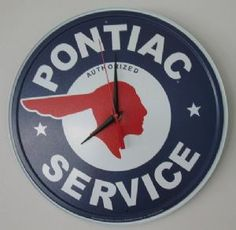 """Any car enthusiast will love hanging this clock in their garage. Measuring 12 1/2"""" in diameter. Quartz movement and requires 1 AA battery.   Our Price: $24.95  Availability: In Stock"""