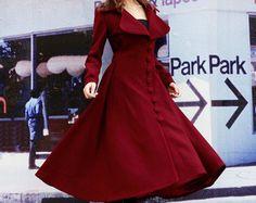 Vino Rosso di lana del cappotto di inverno / di Sophiaclothing