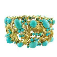 1970s Turquoise Diamond Gold Bracelet