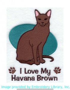 Stickmotiv Stickbild Aufnäher Stickerei Emblem Havana-Katze  Havana-Katze /  Stickerei I Love My Havana Brown (E5180)