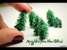 Miniature snowy pine tree tutorial - YouTube