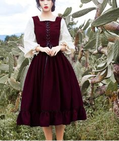 High Quality Princess Style Spring New Arrival Square Collar Lantern Sleeve Woman Long Cotton Dress - Old Fashion Dresses, Old Dresses, Pretty Dresses, Vintage Dresses, Beautiful Dresses, Casual Dresses, Vintage Outfits, Pretty Outfits, Fashion Outfits