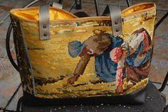 sac en toile à canevas, doublé de coton safran, fond en simili cuir
