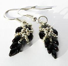 Black Dangle Earrings, Leaf Earrings, Leaves Earrings, Black and silver bead earrings, Dangle Earrings, Beadwork - pinned by pin4etsy.com