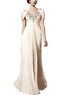 GEORGE BRIDE Cream Sheath/ Column V Neck Floor-Length Chiffon Evening Dress With Beaded Appliques Price: $468.00 Sale: $175.00