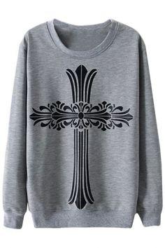 Delicate Cross Cotton Sweatshirt