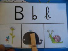 """Les spelling cards pr travailler sur le son du début de mots. Cette activité a eu beaucoup de succès auprès des enfants.  Trois images sont proposées pour un son : quel est le mot qui commence par """"a""""? Quel est le mot qui commence par """"mmm"""" ? L'important pour cette activité est de prononcer le son de la lettre et non son nom.  Les enfants mettent une pince à linge sur le bon dessin et retournent la carte pour se corriger. J'ai mis une gommette au dos du dessin correspondant au son"""