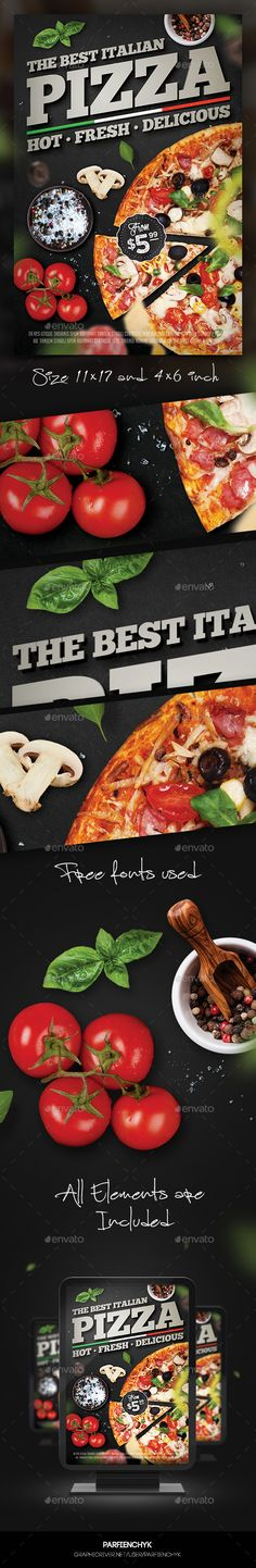 Pizza Flyer Template PSD #design Download: http://graphicriver.net/item/pizza-flyer-template/14118823?ref=ksioks (Top View Photoshop)