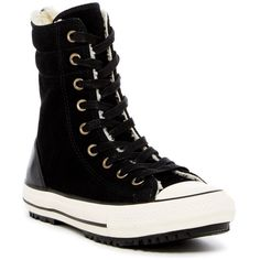 Converse Chuck Taylor Hi-Rise Faux Shearling Lined Sneaker (Women) ($60) ❤ liked on Polyvore featuring shoes, sneakers, suede lace up shoes, lace up sneakers, suede high tops, suede sneakers and high top sneakers