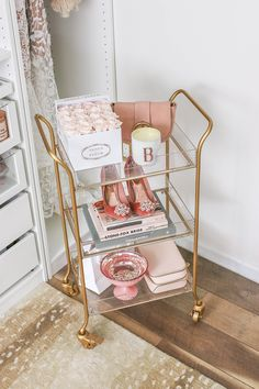 room decor My Top 10 Purchases of 2018 Gold and Acrylic Rolling Cart, World Market Rolling Cart Room Ideas Bedroom, Diy Bedroom Decor, Home Decor, Bedroom Designs, Beauty Room Decor, Bar Cart Decor, Bar Cart Styling, Salon Interior Design, Nail Salon Design