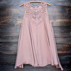 taupe boho crochet lace dress - shophearts - 1